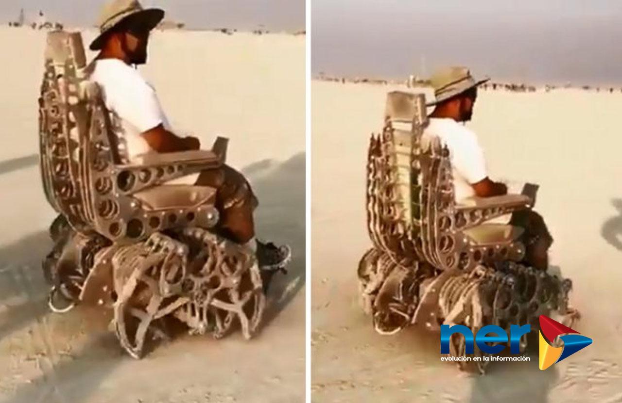 silla de ruedas araña con curioso mecanismo